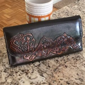 Handbags - Tooled leather clutch